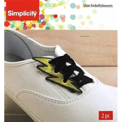 "Gold Lightning Bolt 1.1""X3.2"" - Wrights Shoe Wing Embellishment 2/Pkg"