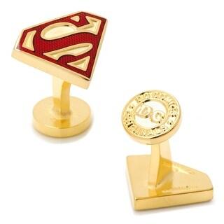 Gold Enamel Superman Shield Cufflinks