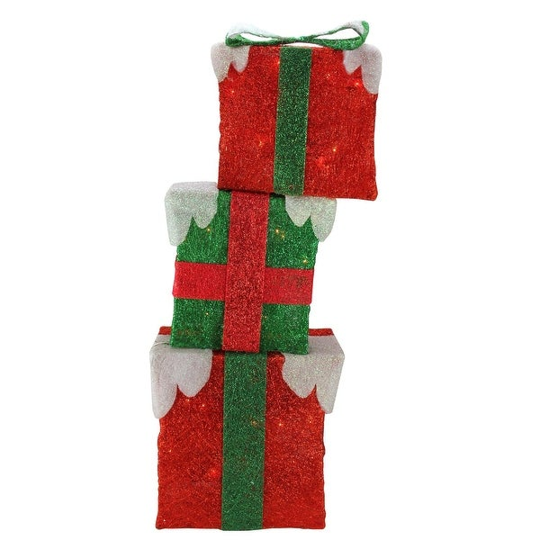 """Set of 3 Pre-lit Stacked 3-D Frosted Red and Green Gift Box Outdoor Decorations 30"""""""