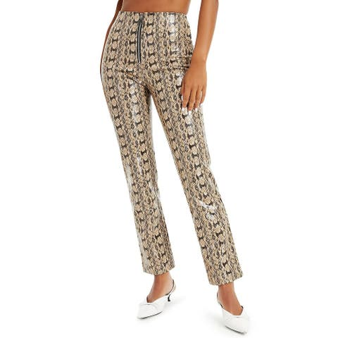 Danielle Bernstein Women's Pants Beige Size 10X29 Faux Snakeskin