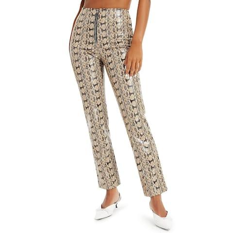 Danielle Bernstein Women's Pants Beige Size 6X29 Faux Snakeskin Zip-Fly