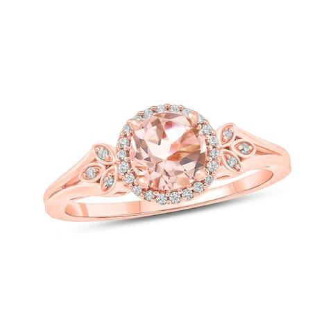 Cali Trove 10K Rose Gold Round Morganite Floral Fashion Ring with 1/10 Carat White Diamond Halo