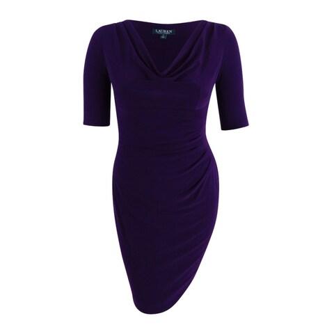 Lauren Ralph Lauren Women's Petite Cowl Neck Jersey Dress