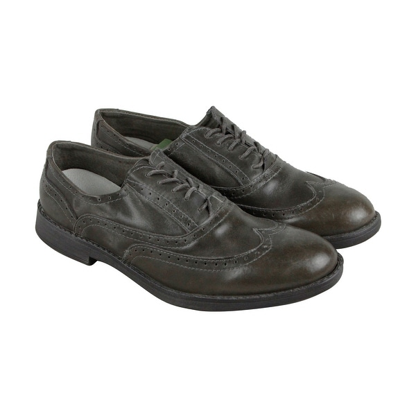 Hey Dude Vinci Mens Green Leather Casual Dress Lace Up Oxfords Shoes