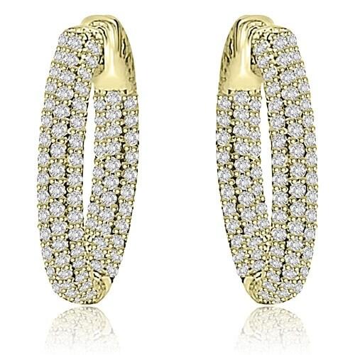 2.75 cttw. 14K Yellow Gold Round Cut Diamond Hoop Earrings - White H-I