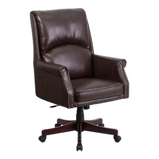 Offex High Back Pillow Back Brown Leather Executive Swivel Office Chair