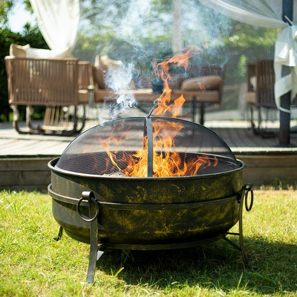 """31"""" Outdoor Wood Burning Fire Pit Cauldron w Metal Grate, Screen, Poker. Opens flyout."""