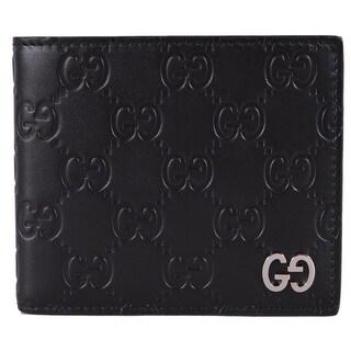 Gucci Men's Black Leather GG Guccissima GG Plaque Bifold Wallet - M
