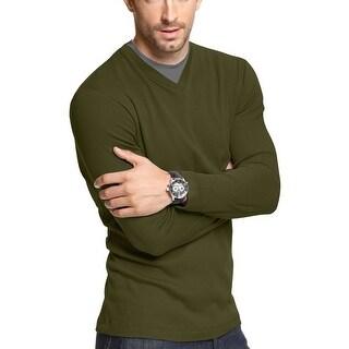 John Ashford Long Sleeve Pieced Ribbed V-Neck Shirt Ripe Olive Medium M