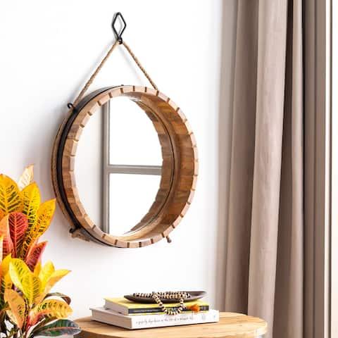 Gil Round Wooden Barrel Mirror