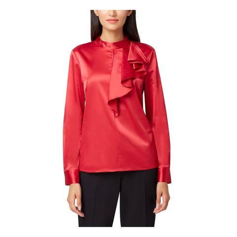TAHARI Womens Red Long Sleeve Mock Wear To Work Top Size PXL