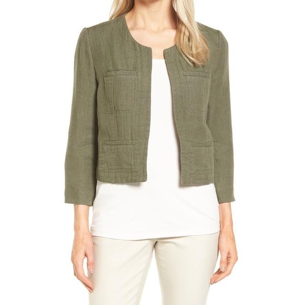 66326754dd2 Shop Nordstrom Collection Women s Crop Linen Blend Jacket - Free ...