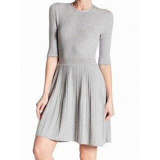 Eliza J Gray Women's Size Large L Ribbed Drop Waist Sweater Dress