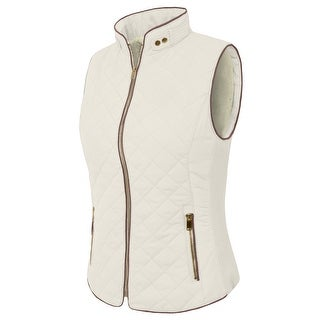 NE PEOPLE Womens Light Weight Wool Lining Quilted Zip Vest (NEWV44)