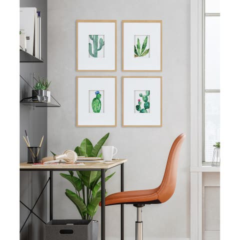 Kate and Laurel Liev Succulent Framed Print Art Set by Maja Mitrovic - Natural