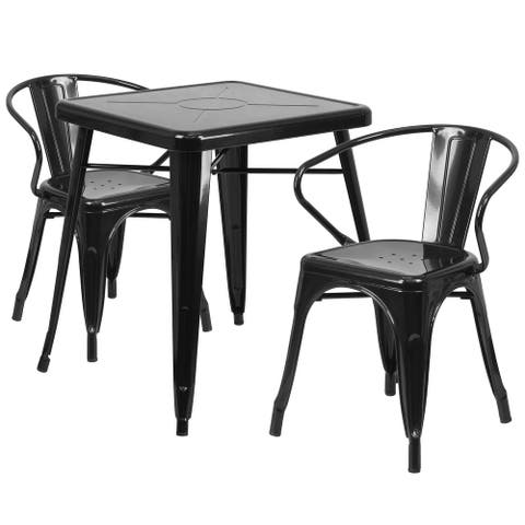 23.75'' Square Metal Indoor-Outdoor Table Set with 2 Arm Chairs