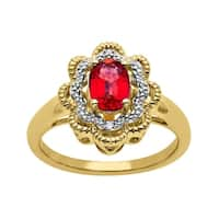 1 ct Ruby Ring with Diamonds in 14K Gold-Plated Sterling Silver