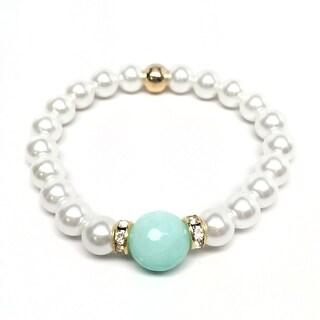 """Pearl & Aqua Quartz Joy 7"""" Bracelet"""