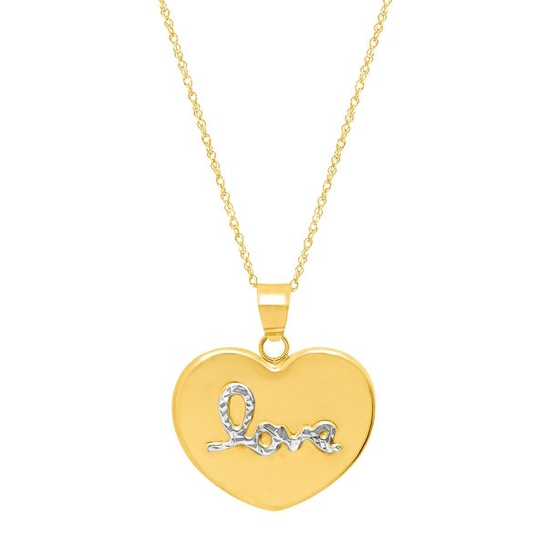 Eternity Gold Heart Pendant with Script 'Love' in 14K Yellow Gold