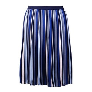 Tommy Hilfiger Women's Striped Pleated Crepe Skirt (10, Catalonia Blue) - 10