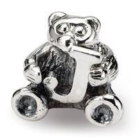 Sterling Silver Reflections Kids Letter J Bead (3.5mm Diameter Hole)