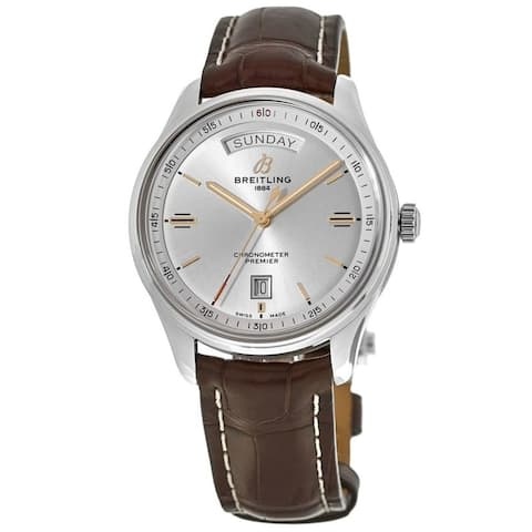 Breitling Men's A4534021-G846-1021P 'Premier' Brown Leather Watch - Silver