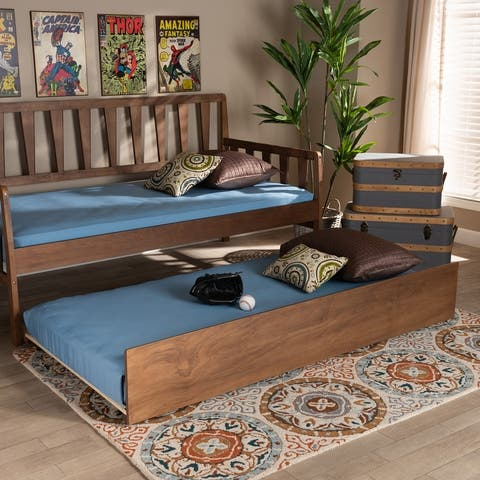 Midori Modern and Contemporary Transitional Twin Size Trundle Bed