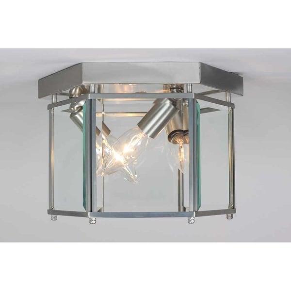 "Volume Lighting V7223 3-Light 9"" Flush Mount Ceiling Fixture with Clear Beveled Glass Shade"