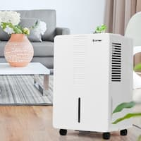 Costway Portable 50 Pint Dehumidifier Humidity Control Up to 3000 Sq.Ft. W/ Fan Wheels - White