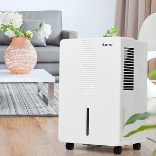 Costway Portable 50 Pint Dehumidifier Humidity Control Up to 3000 Sq.Ft. W/ Fan Wheels