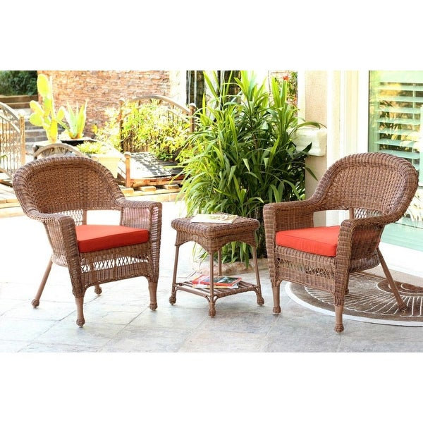 3 Piece Honey Wicker Patio Chairs And End Table Furniture Set Red Orange Cushions Brown