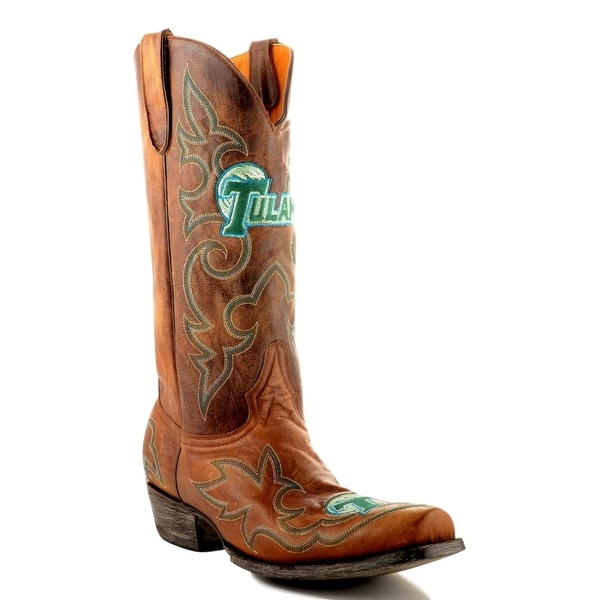 Gameday Boots Mens College Team Tulane Green Wave Brass