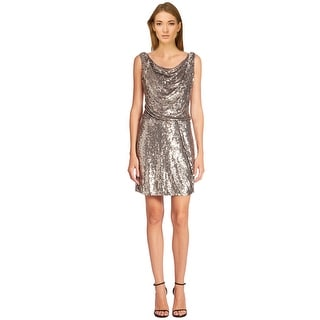 Parker Black Sequined Cowl Neck Sleeveless Cocktail Dress - 12