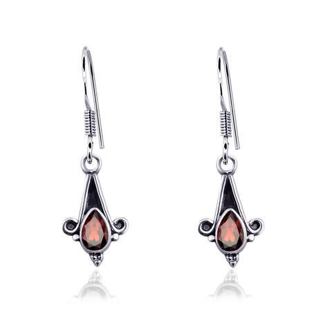 Topaz, Citrine, Garnet Sterling Silver Pear Dangle Earrings by Orchid Jewelry