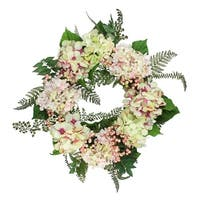 """24"""" Decorative Pink, Cream and Green Hydrangea and Berry Artificial Floral Wreath - Unlit - Pink"""