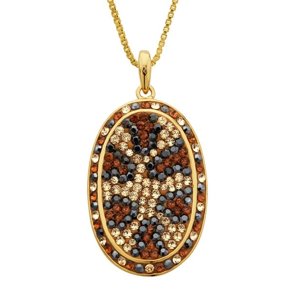 Crystaluxe Leopard Pendant with Swarovski elements Crystals in 18K Gold-Plated Sterling Silver