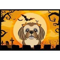 Halloween Chocolate Brown Shih Tzu Indoor & Outdoor Mat, 18 x