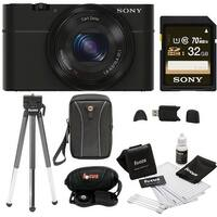 Sony DSC-RX100M II Digital Camera w/ 8'' Tripod & Sony 32GB Memory Card Bundle