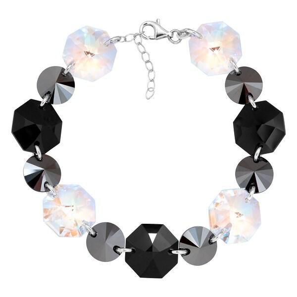 Crystaluxe Link Bracelet with Black & White Swarovski elements Crystals in Sterling Silver