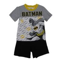 Dc Comics Little Boys White Grey Batman Short Sleeve 2 Pc Outfit