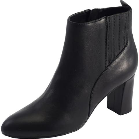David Tate Womens Delores Ankle Boots Leather Side Zip - Black - 9 Narrow (AA,N)