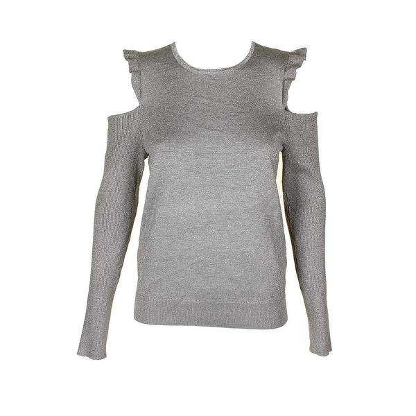 5a8941c65936b0 Dkny Grey Silver Metallic Ruffled Cold Shoulder Ribbed Knit Sweater L
