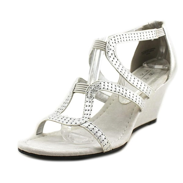 New York Transit Natural Women W Open Toe Synthetic Silver Wedge Sandal