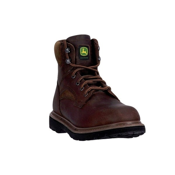 "John Deere Western Boots Mens 6"" Steel Toe Lace Up EH Brown"