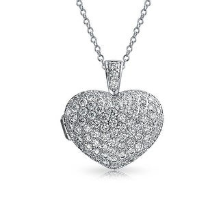 CZ Heart Aromatherapy Essential Oil Perfume Diffuser Locket Necklace - 18 (18 Inch - 18)