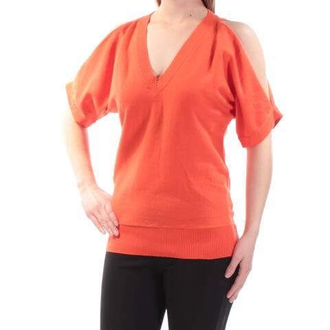 MICHAEL KORS Womens Orange Cold Shoulder Dolman Sleeve V Neck Top Size: S