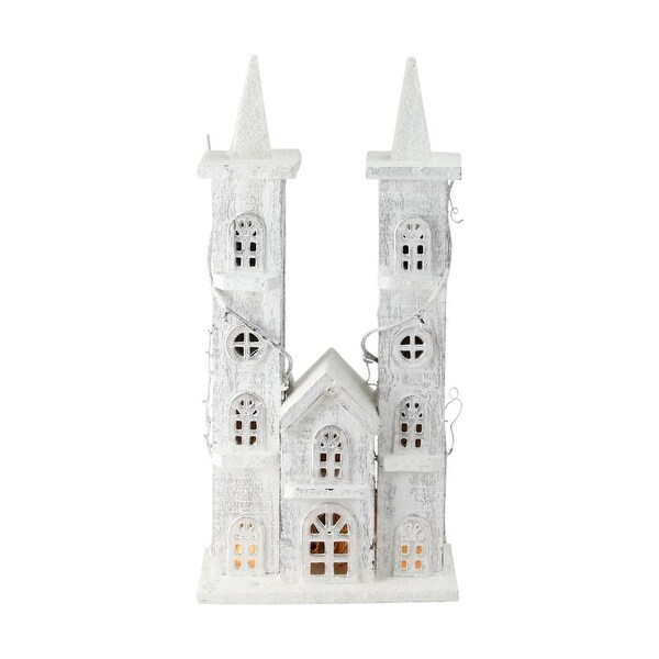 "15.75"" LED Lighted White Wooden Snowy Double Tower Church Christmas Decoration"