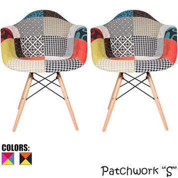 Set of 2 Multi Color Modern Upholstered Fabric Multi-Pattern Patchwork Chair Light Natural Eiffel Wood Leg Dining Room