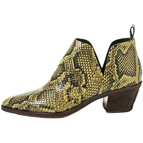 Womens Western Ankle Booties Pointed Toe Animal Print Chunky Block Heel V Cut Faux Leather Chelsea Boot - 9