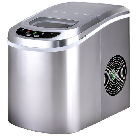 Costway Sliver Portable Compact Electric Ice Maker Machine Mini Cube